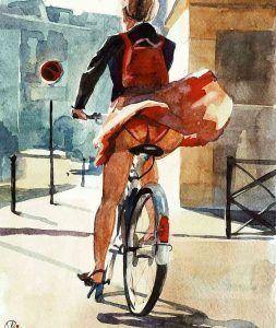 Muchacha con falda en bicicleta