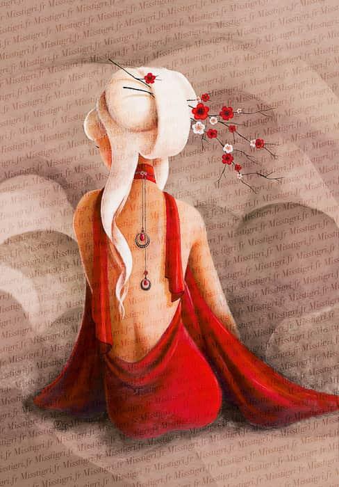 obra de Mistigri con vestido rojo
